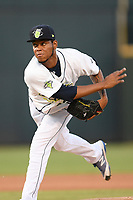 Pitcher Jose Moreno (26) of the Columbia Fireflies delivers a pitch in a game against the Rome Braves on Saturday, August 17, 2019, at Segra Park in Columbia, South Carolina. Rome won, 4-0. (Tom Priddy/Four Seam Images)