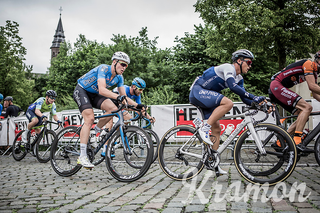 Later race winner Emils Liepins (LTV/One Pro Cycling) and Tim Merlier (BEL/Veranda's Willems Crelan) on the uphill cobble section in the 2nd of 8 local laps. <br /> <br /> 11th Heistse Pijl 2018<br /> Turnhout > Heist-op-den Berg 194km (BEL)