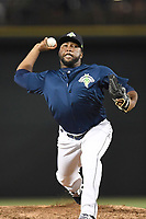 Pitcher Adonis Uceta (30) of the Columbia Fireflies delivers a pitch in a game against  the Charleston RiverDogs on Friday, June 9, 2017, at Spirit Communications Park in Columbia, South Carolina. Columbia won, 3-1. (Tom Priddy/Four Seam Images)