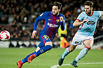 Jose Manuel Arnaiz Diaz (L)0 of FC Barcelona fights for the ball with Sergi Gomez Sola of RC Celta de Vigo during the Copa Del Rey 2017-18 Round of 16 (2nd leg) match between FC Barcelona and RC Celta de Vigo at Camp Nou on 11 January 2018 in Barcelona, Spain. Photo by Vicens Gimenez / Power Sport Images