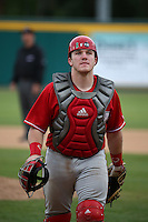 Jesse Wilkening (8) of the Nebraska Cornhuskers in the field during a game against the Long Beach State Dirtbags in the first game of a doubleheader at Blair Field on March 5, 2016 in Long Beach, California. Long Beach State defeated Nebraska, 1-0. (Larry Goren/Four Seam Images)