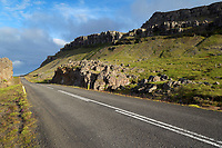 Iceland's scenic Ring Road running through mountains near Lækjavik Coastline, East Iceland, Iceland