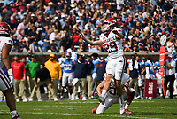 Arkansas Cam Little (29) kicks an extra point, Saturday, October 9, 2021 during the third quarter of a football game at Vaught Hemingway Stadium in Oxford, Miss. Check out nwaonline.com/211010Daily/ for today's photo gallery. <br /> (NWA Democrat-Gazette/Charlie Kaijo)