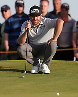 17th July 2021; Royal St Georges Golf Club, Sandwich, Kent, England; The Open Championship Golf, Day Three; Louis Oosthuizen (RSA) studies the line of his birdie putt on the 17th hole