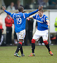 RANGERS' SONE ALUKO CELEBRATES WITH KIRK BROADFOOT AFTER HE SCORES RANGERS' THIRD