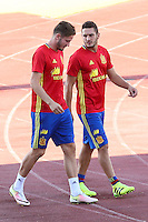 Spanish player Saul Iniguez and Koke Resurrecccion durign the first training of the concentration of Spanish football team at Ciudad del Futbol de Las Rozas before the qualifying for the Russia world cup in 2017 August 29, 2016. (ALTERPHOTOS/Rodrigo Jimenez) /NORTEPHOTO
