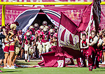 The Florida State Seminoles take the field for the first half of an NCAA college football game against Syracuse in Tallahassee, Fla., Saturday, Nov. 4, 2017. Florida State defeated Syracuse 27-24. (AP Photo/Mark Wallheiser)