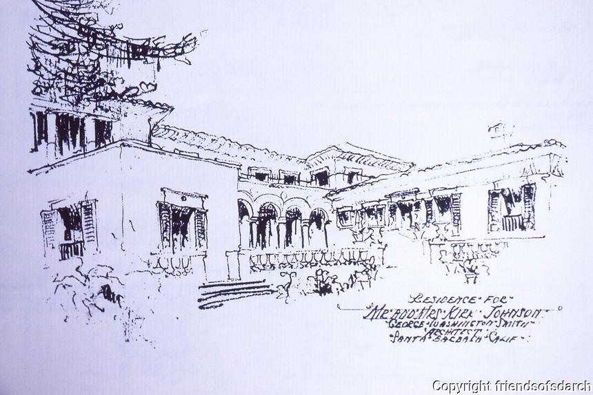 Sketch of Residence for Mr. and Mrs. Kirk Johnson, Santa Barbara, CA.  George Washington Smith, Architect.  Dec. 1987.