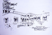 Sketch of Residence for Mr. and Mrs. Kirk Johnson, Santa Barbara, CA.  George Washington Smith, Architect.  Dec. 1987.