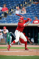 Philadelphia Phillies shortstop J.P. Crawford (12) at bat during a game against the Florida Fire Frogs while on rehab assignment with the Clearwater Threshers on June 1, 2018 at Spectrum Field in Clearwater, Florida.  Florida defeated Clearwater 12-10.  (Mike Janes/Four Seam Images)