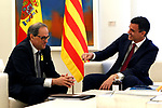 The President of the Government of Spain, Pedro Sanchez (r), receives in La Moncloa Palace the President of Generalitat of Catalonia Quim Torra. July 9,2018. (ALTERPHOTOS/Acero)