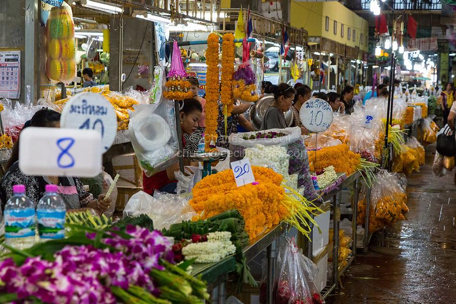 Bangkok, Thailand.  Pak Khlong Market (Flower Market).