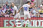 Getafe CF's Sandro Ramirez and Enes Unal celebrate goal during La Liga match. August 29, 2021. (ALTERPHOTOS/Acero)