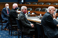 From left to right: Stephen Hahn, commissioner of food and drugs at the U.S. Food and Drug Administration (FDA), Brett Giroir, U.S. assistant secretary for health, Anthony Fauci, director of the National Institute of Allergy and Infectious Diseases, and Robert Redfield, director of the Centers for Disease Control and Prevention (CDC), testify before the House Energy and Commerce Committee in Washington, D.C., U.S., on Tuesday, June 23, 2020. Trump administration health officials will tell lawmakers that their agencies are preparing for a flu season that will be complicated by the coronavirus pandemic. Photographer: Sarah Silbiger/Bloomberg<br /> Credit: Sarah Silbiger / Pool via CNP/AdMedia