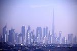 The cityscape of Dubai with the Burj Khalifa aka Burj Dubai the tallest building in the world in the background. Dubai. Unite Arab Emirates