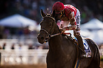 ARCADIA, CA - APRIL 07:  Midnight Bisou #3 with Mike Smith Wins the Santa Anita Oaks on Santa Anita Derby Day at Santa Anita Park on April 07, 2018 in Arcadia, California.(Photo by Alex Evers/Eclipse Sportswire/Getty Images)