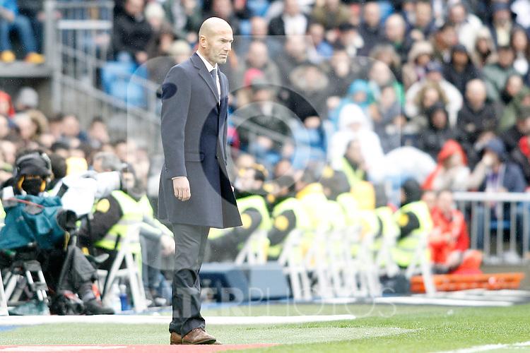 Real Madrid's coach Zinedine Zidane during La Liga match. February 13,2016. (ALTERPHOTOS/Acero)