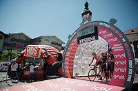 Pim Ligthart (NLD/Lotto-Soudal) on the start podium: ready to roll!<br /> <br /> stage 15 (iTT): Castelrotto-Alpe di Siusi 10.8km<br /> 99th Giro d'Italia 2016