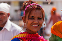 Asia,India,Punjab, Anandpur Sahib, sikh girl with smiling at the Holla Mohalla annual festival