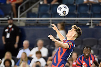 KANSAS CITY, KS - JULY 15: Matthew Hoppe #13 of the United States keeps his eyes on the ball during a game between Martinique and USMNT at Children's Mercy Park on July 15, 2021 in Kansas City, Kansas.