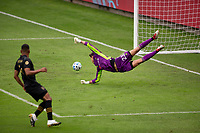 LOS ANGELES, CA - OCTOBER 25: Pablo Sisniega #23 goalkeeper for LAFC dives for a ball during a game between Los Angeles Galaxy and Los Angeles FC at Banc of California Stadium on October 25, 2020 in Los Angeles, California.