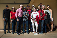STANFORD, CA - February 17, 2018: Senior parents at Avery Aquatic Center. The Stanford Cardinal defeated the California Golden Bears 151-149 on Senior Day.