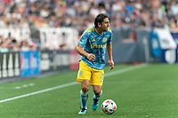 FOXBOROUGH, MA - AUGUST 8: Alejandro Bedoya #11 of Philadelphia Union looks to pass during a game between Philadelphia Union and New England Revolution at Gillette Stadium on August 8, 2021 in Foxborough, Massachusetts.