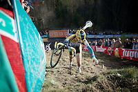 """Nikki Harris (GBR/Telenet-Fidea) climbing """"Le Mur"""" de Francorchamps (50% gradient!)<br /> <br /> Superprestige Francorchamps 2014"""