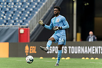 FOXBOROUGH, MA - MAY 12: Rashid Nuhu #24 of Union Omaha passes the ball during a game between Union Omaha and New England Revolution II at Gillette Stadium on May 12, 2021 in Foxborough, Massachusetts.