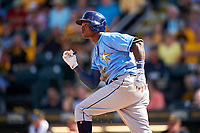 Tampa Bay Rays shortstop Tim Beckham (1) starts down the first base line during a Spring Training game against the Pittsburgh Pirates on March 10, 2017 at LECOM Park in Bradenton, Florida.  Pittsburgh defeated New York 4-1.  (Mike Janes/Four Seam Images)