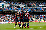 SD Eibar's players celebrate goal during La Liga match between Real Madrid and SD Eibar at Santiago Bernabeu Stadium in Madrid, Spain.April 06, 2019. (ALTERPHOTOS/A. Perez Meca)