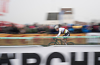speedy Wout Van Aert (BEL/Crelan-Willems)<br /> <br /> Elite Men's race<br /> CX Superprestige Noordzeecross <br /> Middelkerke / Belgium 2017