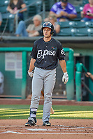 Jason Vosler (28) of the El Paso Chihuahuas at bat against the Salt Lake Bees at Smith's Ballpark on August 17, 2019 in Salt Lake City, Utah. The Bees defeated the Chihuahuas 5-4. (Stephen Smith/Four Seam Images)