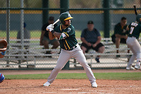 Oakland Athletics third baseman Jesus Lopez (21) at bat during a Minor League Spring Training game against the Chicago Cubs at Sloan Park on March 13, 2018 in Mesa, Arizona. (Zachary Lucy/Four Seam Images)