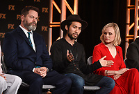 """PASADENA, CA - JANUARY 9: (L-R) Cast members Nick Offerman, Jin Ha, and Alison Pill attend the panel for """"Devs"""" during the FX Networks presentation at the 2020 TCA Winter Press Tour at the Langham Huntington on January 9, 2020 in Pasadena, California. (Photo by Frank Micelotta/FX Networks/PictureGroup)"""