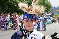 Native American Boy with Feather Headdress, Auburn Days Parade 2017, Auburn, WA, USA.