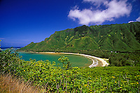 Kahana Valley State park and beach, North shore of Oahu