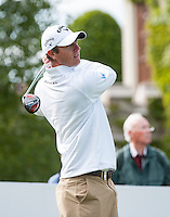 21.05.2015. Wentworth, England. BMW PGA Golf Championship. Round 1. Nicolas Colsaerts [BEL] on the first tee. The first round of the 2015 BMW PGA Championship from The West Course Wentworth Golf Club