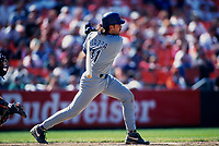 SAN FRANCISCO, CA:  Mike Piazza of the Los Angeles Dodgers bats during a game against the San Francisco Giants at Candlestick Park in San Francisco, California on July 26, 1995. (Photo by Brad Mangin)