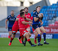 9th September 2020; AJ Bell Stadium, Salford, Lancashire, England; English Premiership Rugby, Sale Sharks versus Sracens; Sam James of Sale Sharks catches a lose ball