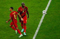 Romelu Lukaku of Belgium celebrates with Youri Tielemans after scoring on penalty the goal of 1-2 for his side during the Uefa Euro 2020 round of 8 football match between Belgium and Italy at football arena in Munich (Germany), July 2nd, 2021. Photo Matteo Ciambelli / Insidefoto