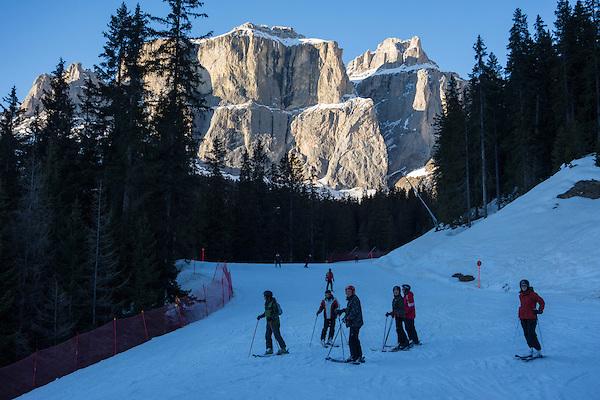 Descending Belvedere to Canazei, Dolomites, Italy,