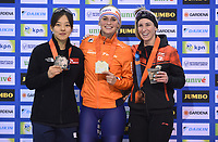 SPEEDSKATING: SALT LAKE CITY: Utah Olympic Oval, 10-03-2019, ISU World Cup Finals, Podium Mass Start Ladies, Bo-Reum Kim (KOR), Irene Schouten (NED), Ivanie Blondin (CAN), ©Martin de Jong