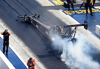Sep 17, 2016; Concord, NC, USA; NHRA top fuel driver Scott Palmer during qualifying for the Carolina Nationals at zMax Dragway. Mandatory Credit: Mark J. Rebilas-USA TODAY Sports
