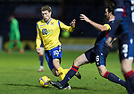 Ross County v St Johnstone…02.01.21   Global Energy Stadium     SPFL<br />David Wotherspoon is tackled by Ross Draper<br />Picture by Graeme Hart.<br />Copyright Perthshire Picture Agency<br />Tel: 01738 623350  Mobile: 07990 594431