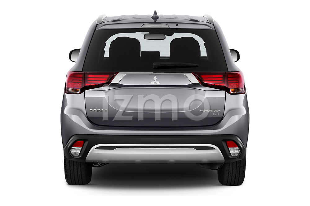 Straight rear view of 2019 Mitsubishi Outlander GT 5 Door SUV Rear View  stock images