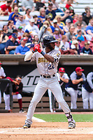 Burlington Bees outfielder Torii Hunter (22) at bat during a Midwest League game against the Wisconsin Timber Rattlers on May 19, 2018 at Fox Cities Stadium in Appleton, Wisconsin. Wisconsin defeated Burlington 1-0. (Brad Krause/Four Seam Images)