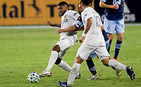 CARSON, CA - OCTOBER 18: Carlos Harvey #67 of the Los Angeles Galaxy passes off the ball during a game between Vancouver Whitecaps and Los Angeles Galaxy at Dignity Heath Sports Park on October 18, 2020 in Carson, California.