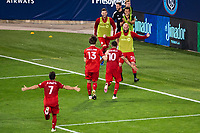 HARRISON, NJ - SEPTEMBER 23: HARRISON, NJ - Wednesday, September 23, 2020: Alejandro Pozuelo, Laurent Ciman during a game between New York City FC and Toronto FC on September 23, 2020 at Red Bull Arena in Harrison, New Jersey during a game between Toronto FC and New York City FC at Red Bull Arena on September 23, 2020 in Harrison, New Jersey.