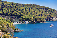 Monastery beach in Poros island, Greece